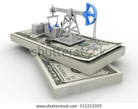 Oil production  on dollars - stock photo