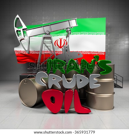 Oil pump and barrels on the background of the flag Iran - stock photo