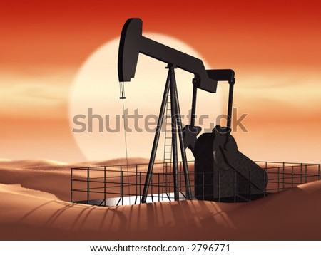 oil pump at sunset - stock photo