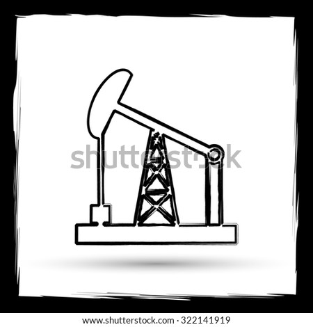 Oil pump icon. Internet button on white background. Outline design imitating paintbrush.