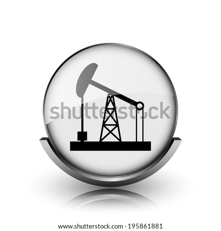 Oil pump icon. Shiny glossy internet button on white background.