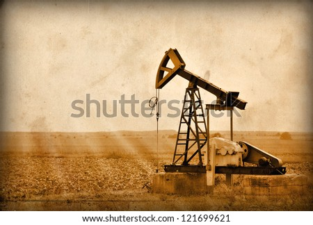 Oil Pump in the Bulgaria, Balkans.Photo in old image style. - stock photo