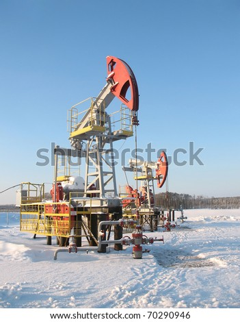 Oil pump jack on a oil field