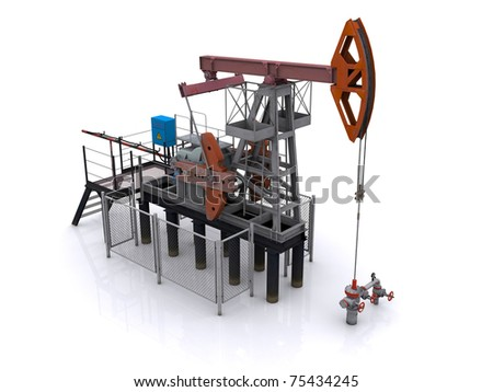 oil pump-jack on a white background. 3d rendering - stock photo