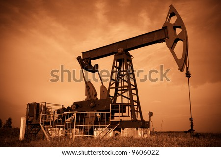 Oil pump jack. Red filtered image.