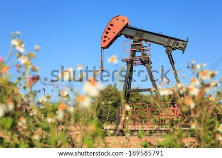 Oil Pump Jack (Sucker Rod Beam) in The Field on Sunny Day - stock photo