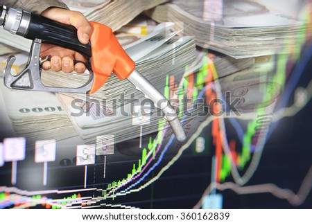oil pump nozzle and stock chart of gas and oil business growth, oil prize graph data for investment analysis economic background. Thailand money banknote - stock photo