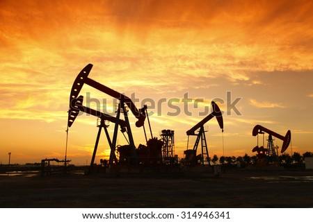 Oil pump, oil industry equipment - stock photo