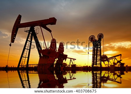 Oil pump, oil industry equipment - stock photo