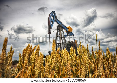 Oil pump, Oil industry equipment, industrial machine for petroleum - stock photo