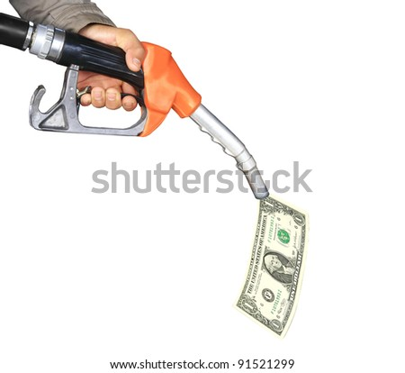 oil pump with dollar bill - stock photo
