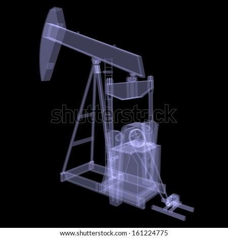 Oil pump. X-ray. 3d render isolated on a black background - stock photo