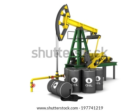 Oil Pumping Derrick on a white background - stock photo