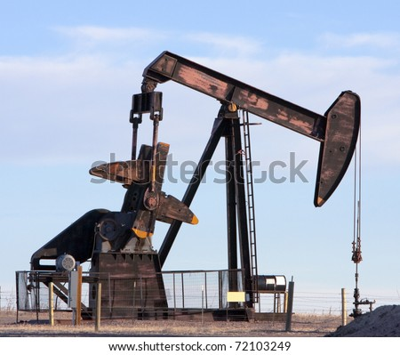 Oil Pumpjack in Colorado - stock photo