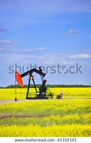 Oil pumpjack or nodding horse pumping unit in Saskatchewan prairies, Canada - stock photo