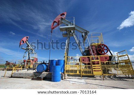 Oil pumps against blue sky