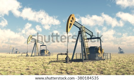 Oil pumps Computer generated 3D illustration