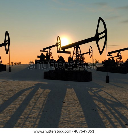 oil pumps in the desert at sunset 3D illustration