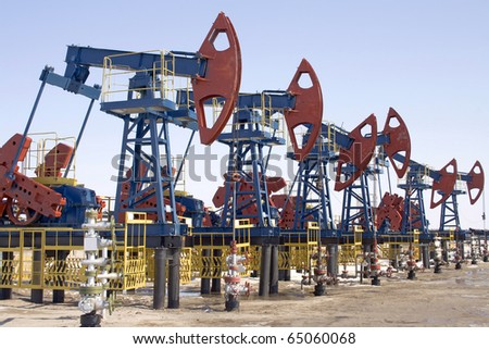 Oil pumps in West Siberia. Oil extraction - stock photo