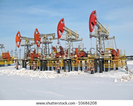 Oil pumps in West Siberia. Oil industry equipment. - stock photo