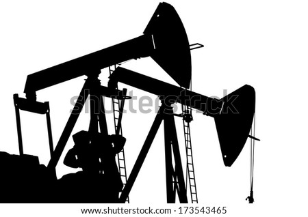 Oil pumps isolated on white background - stock photo
