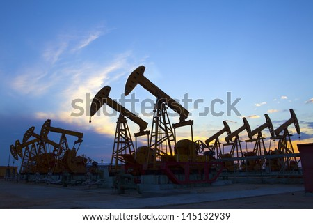 Oil pumps. Oil industry equipment. - stock photo
