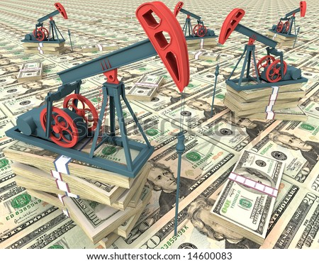 Oil pumps on dollar banknotes. Conceptual 3D illustration. - stock photo