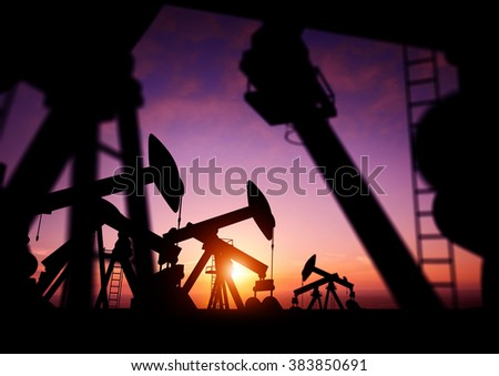 Oil pumps producing oil at dusk. 3D Illustration - stock photo