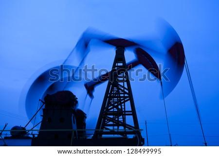 Oil pumps silhouette - stock photo