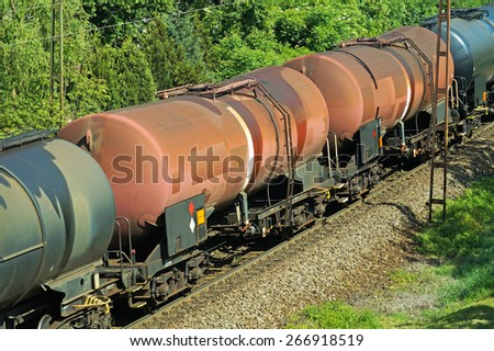 Oil railway carriages - stock photo