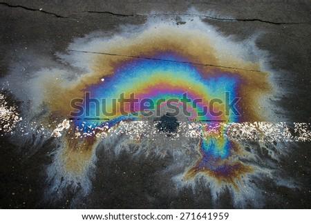 Oil rainbow - stock photo