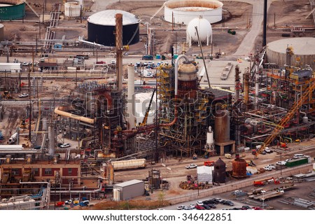 Oil refineries during day time, Salt Lake city, US - stock photo