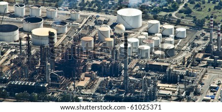 Oil Refinery, aerial view - stock photo