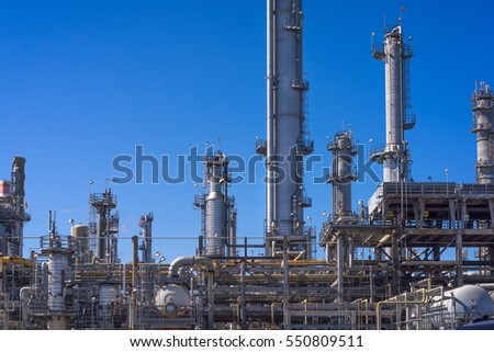Oil Refinery and Smoke Stacks with Clear, Blue Sky - Los Angeles, California.