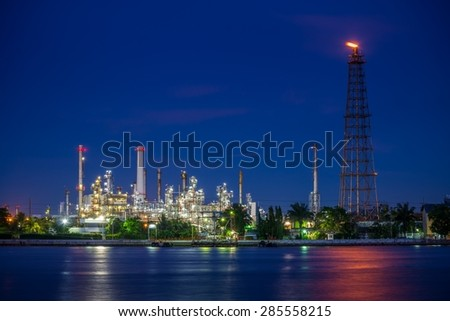 Oil refinery at night beside Chao Phraya river, Bangkok Thailand