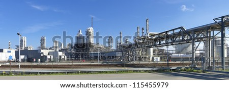 oil refinery at the Maasvlakte, the Rotterdam harbor area - stock photo