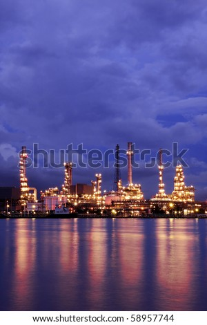 Oil Refinery At Twilight 1 - stock photo