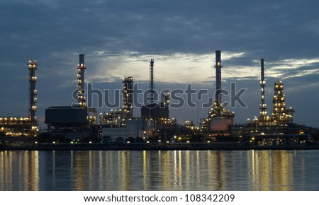 Oil refinery at twilight Bangkok Thailand