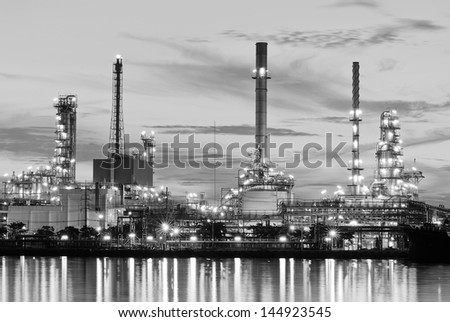Oil refinery at twilight (Black and White) - stock photo