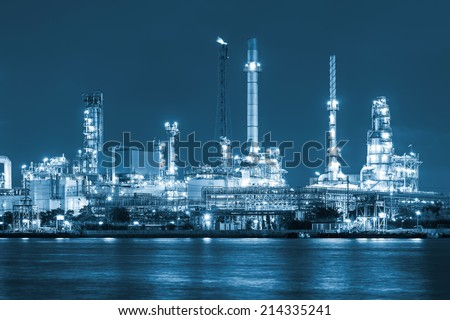 Oil refinery at twilight, blue color tone. - stock photo