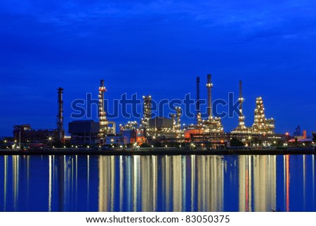 Oil refinery at twilight, Chao Phraya river, Thailand