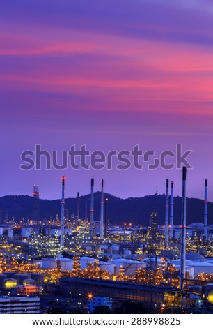 Oil refinery at twilight, Chon Buri, thailand - stock photo