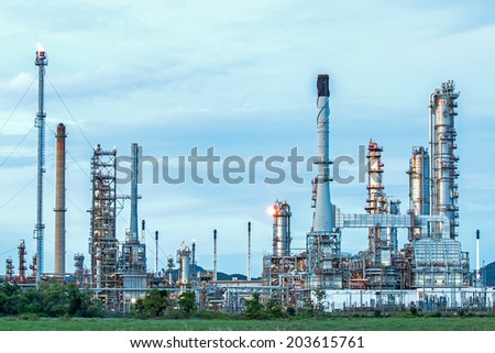 Oil refinery at twilight, locations in Thailand. - stock photo
