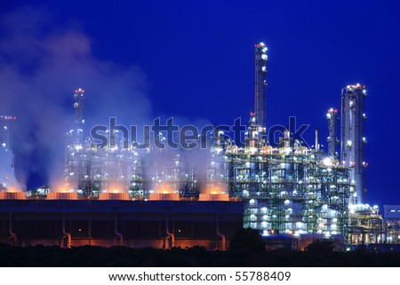 Oil refinery at twilight (Map Ta Phut Industrial Estate Rayong Thailand) - stock photo