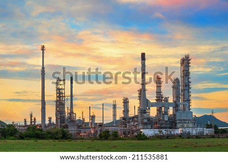 Oil refinery at twilight sky - stock photo