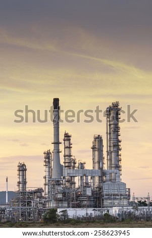 Oil refinery at twilight sky. - stock photo