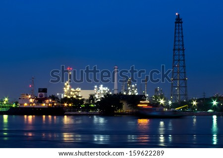 Oil refinery at twilight time, Bangkok Thailand