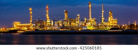 Oil refinery, business industry factory concept can use as background panorama view - stock photo