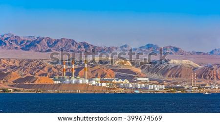 Oil refinery by frontier with Saudi Arabia, Aqaba, Jordan - stock photo