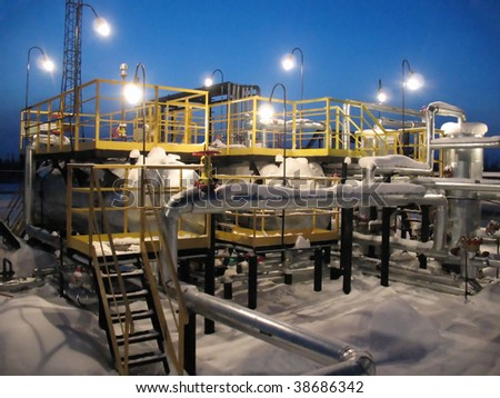 Oil refinery center. Work of oil industry - stock photo